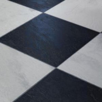 Innovations Black and White Chess Slate Laminate Flooring - 5 in. x 7 in. Take Home Sample-IN-683363 203811796